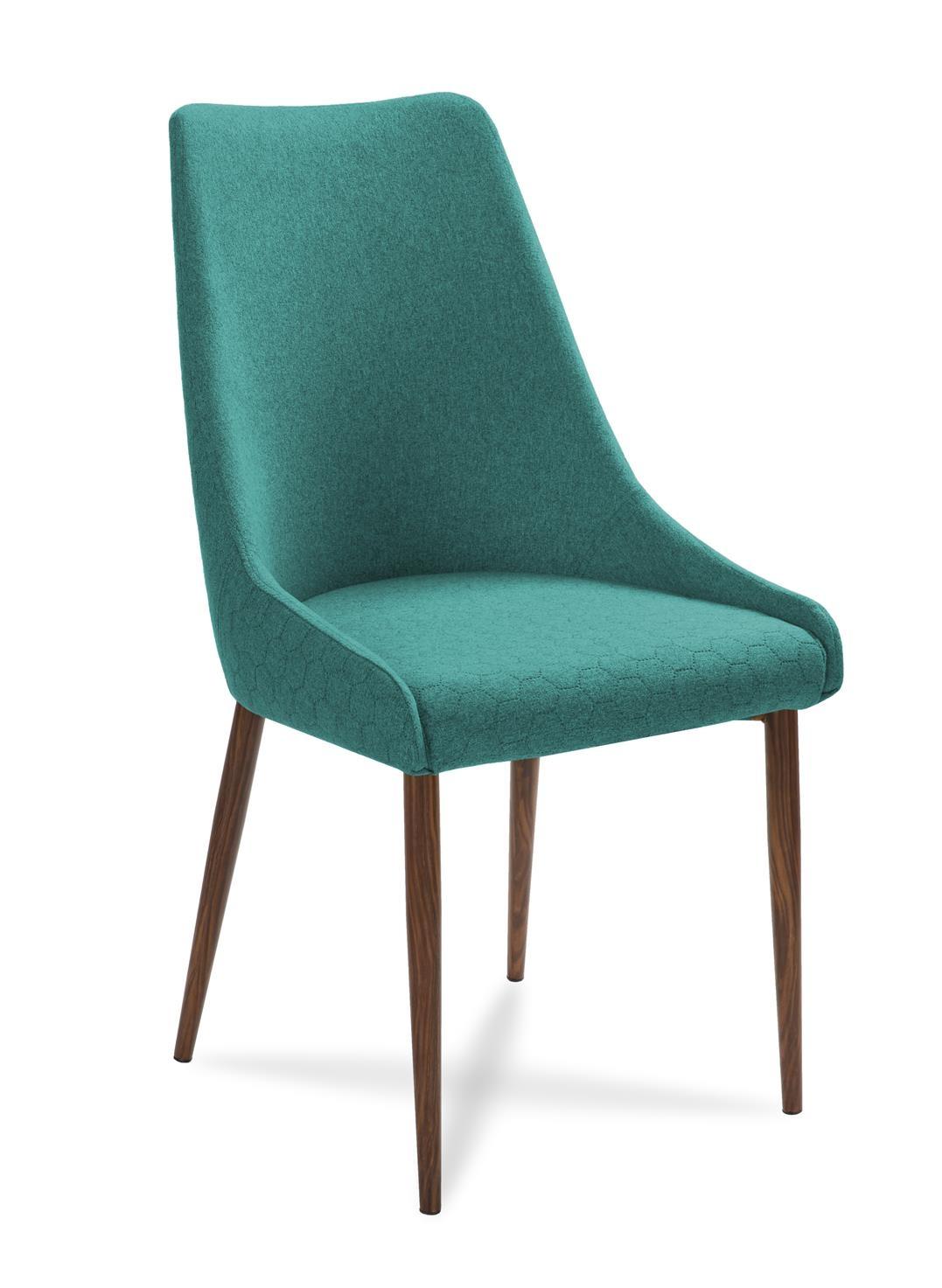 Scaun tapitat cu stofa, cu picioare din lemn Olivier Turquoise / Walnut, l48xA55xH99 cm