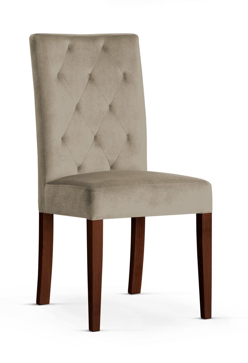 Scaun tapitat cu stofa cu picioare din lemn Orlando Beige / Walnut l46xA60xH97 cm