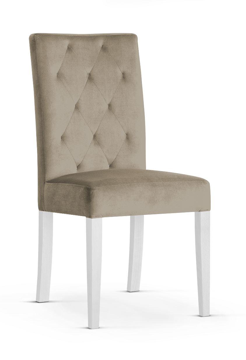 Scaun tapitat cu stofa cu picioare din lemn Orlando Beige / White l46xA60xH97 cm