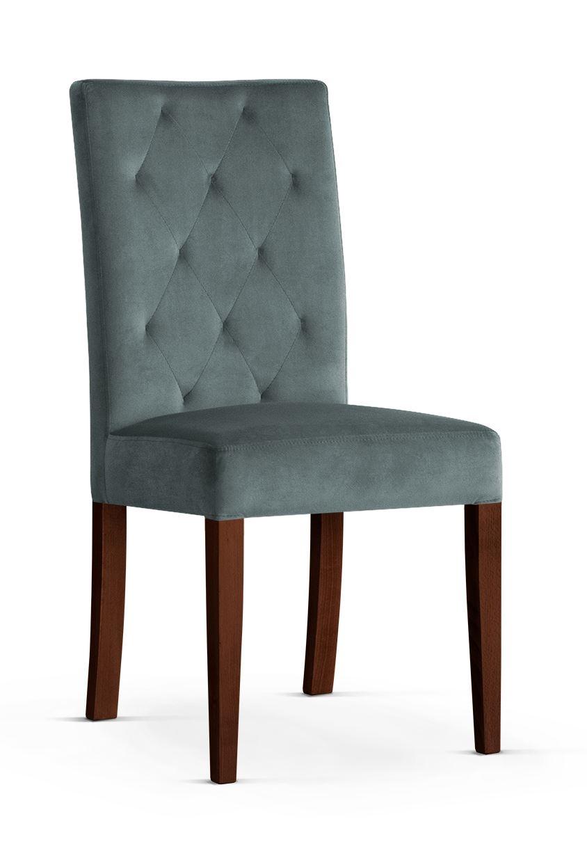 Scaun tapitat cu stofa cu picioare din lemn Orlando Grey / Walnut l46xA60xH97 cm