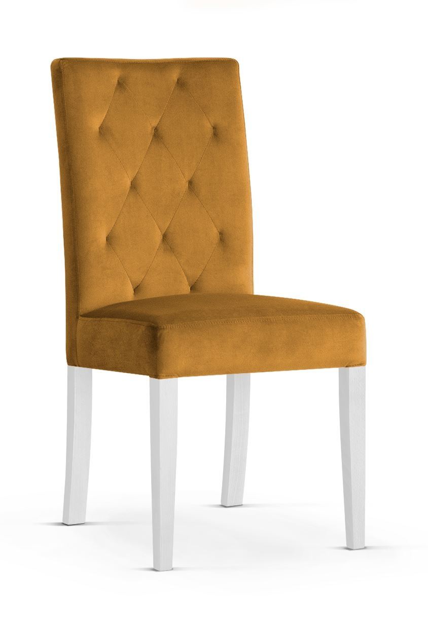 Scaun tapitat cu stofa cu picioare din lemn Orlando Honey / White l46xA60xH97 cm