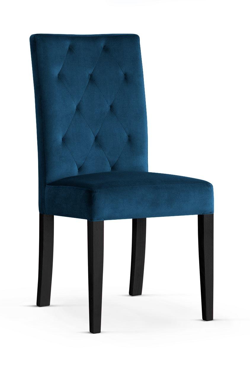 Scaun tapitat cu stofa cu picioare din lemn Orlando Navy Blue / Black l46xA60xH97 cm