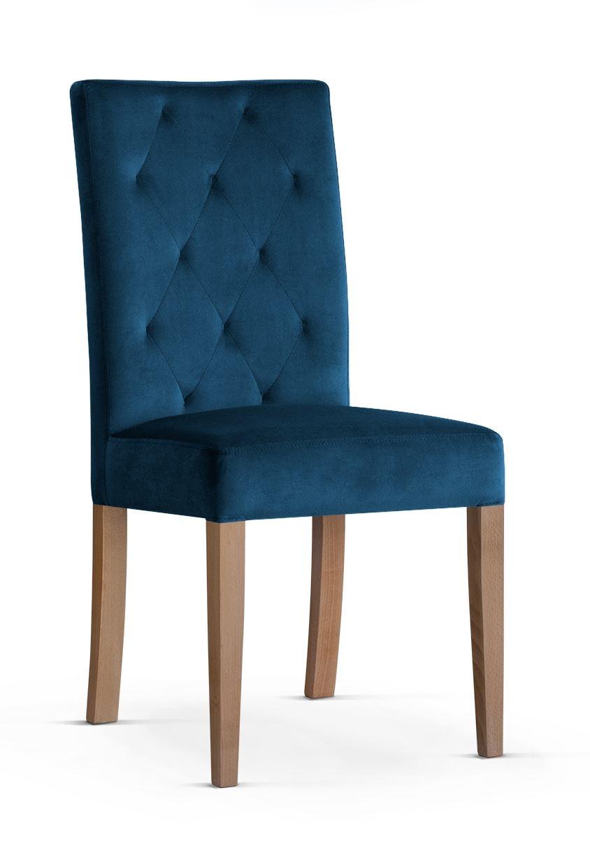 Scaun tapitat cu stofa cu picioare din lemn Orlando Navy Blue / Oak l46xA60xH97 cm