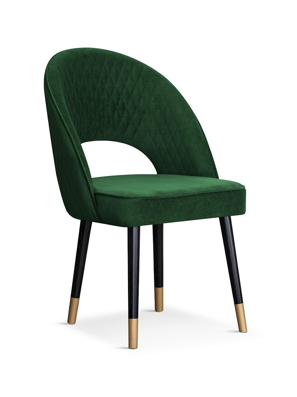 Scaun tapitat cu stofa, cu picioare din lemn Ponte Green / Black / Gold, l56xA63xH89 cm