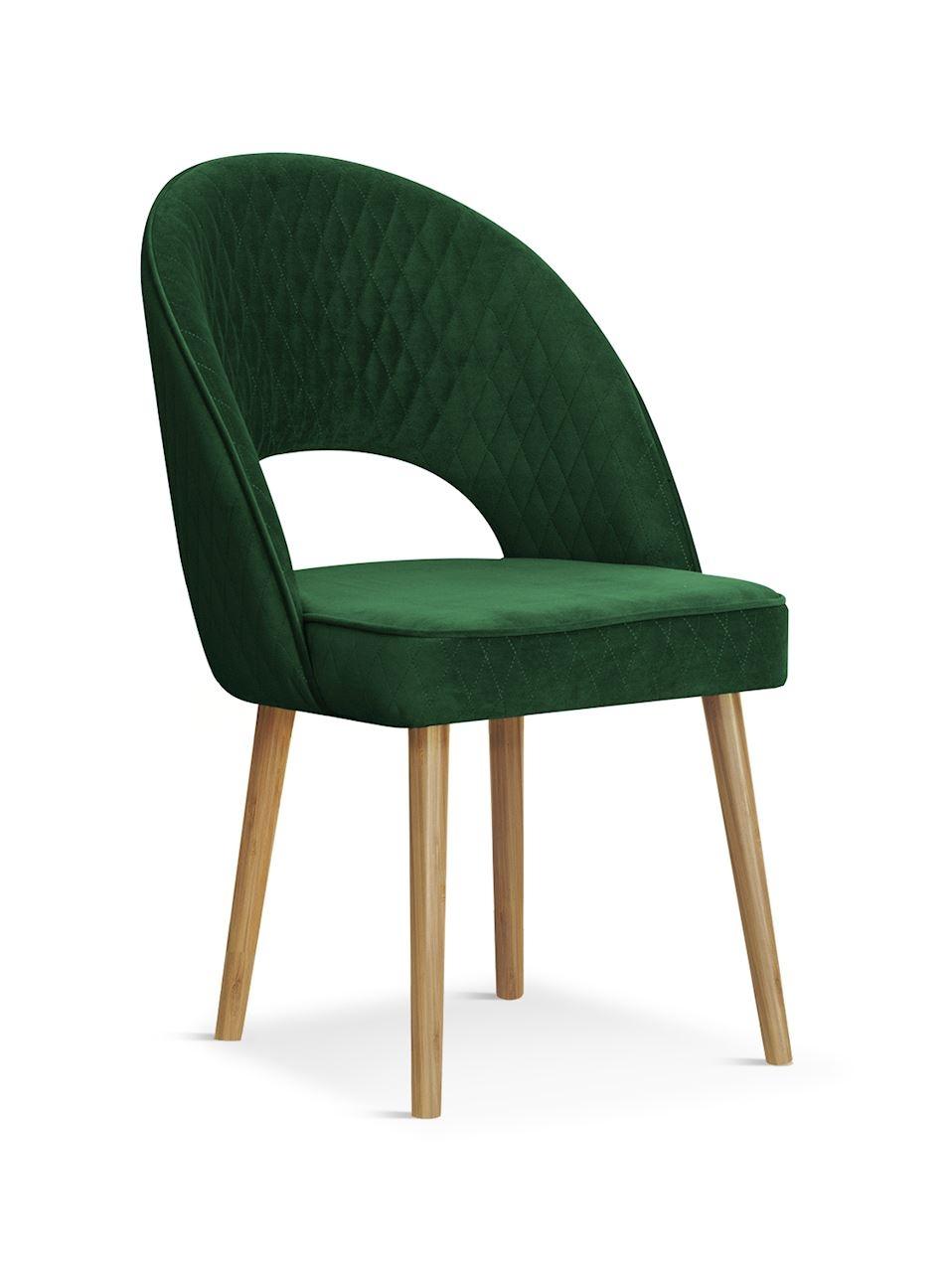 Scaun tapitat cu stofa cu picioare din lemn Ponte Green / Oak l56xA63xH89 cm