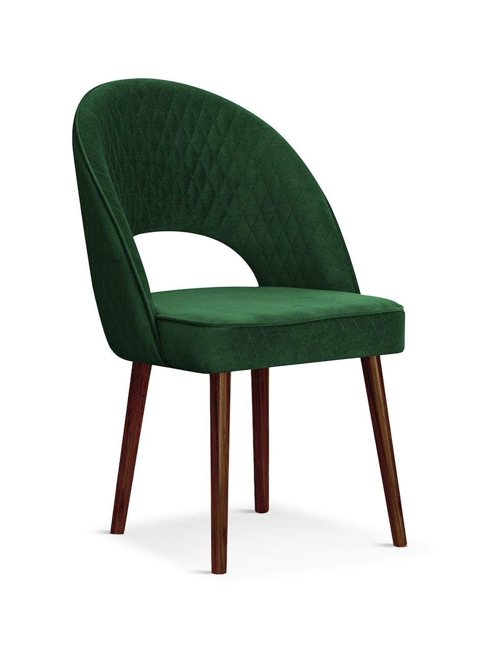 Scaun tapitat cu stofa, cu picioare din lemn Ponte Green / Walnut, l56xA63xH89 cm