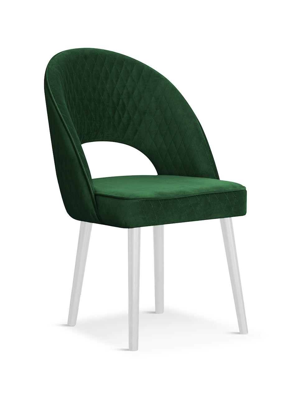 Scaun tapitat cu stofa, cu picioare din lemn Ponte Green / White, l56xA63xH89 cm