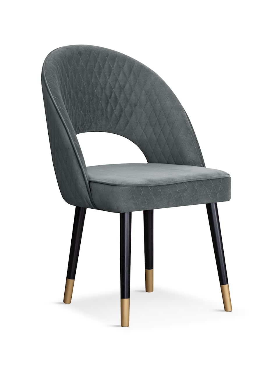 Scaun tapitat cu stofa, cu picioare din lemn Ponte Grey / Black / Gold, l56xA63xH89 cm