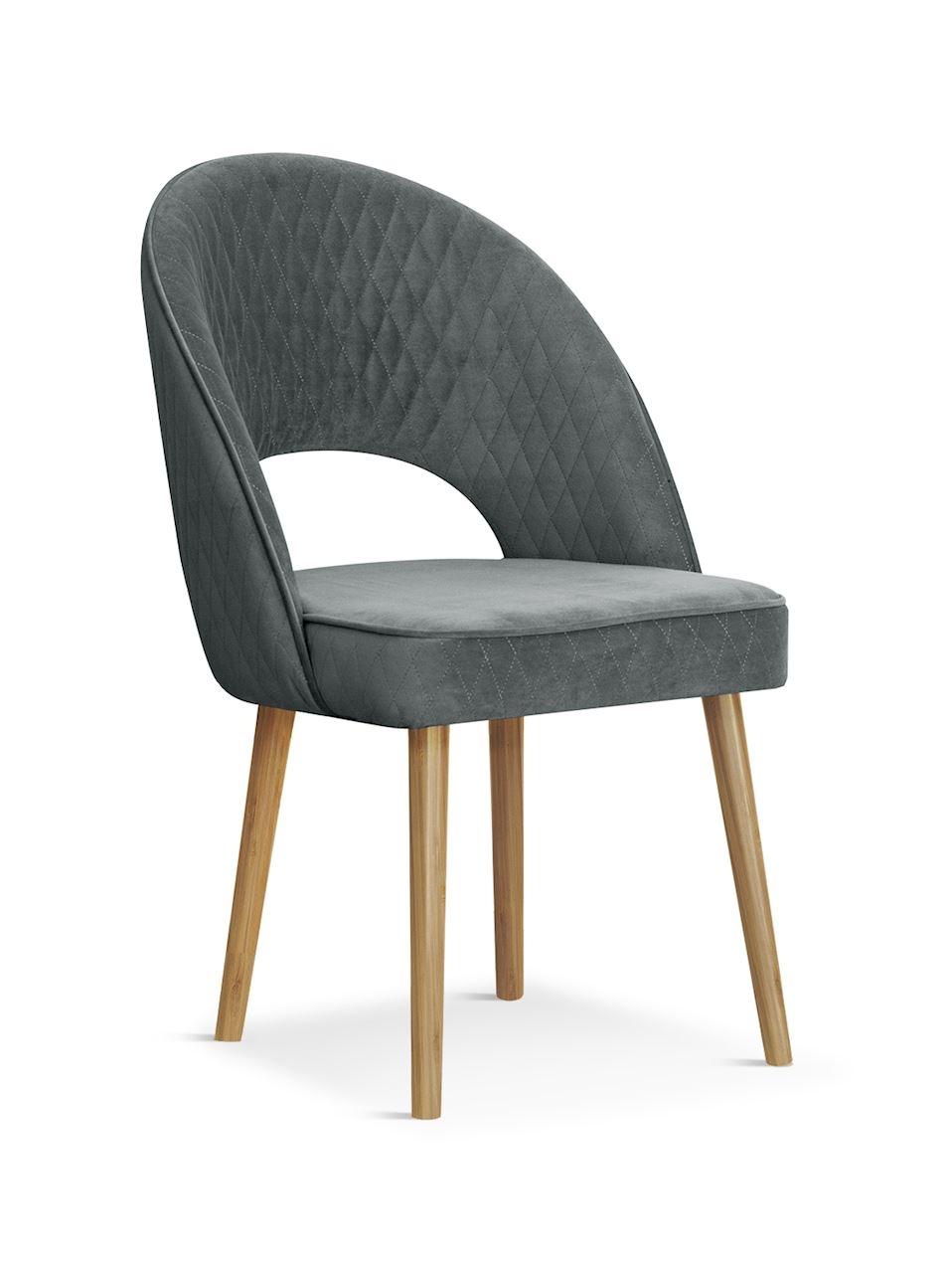 Scaun tapitat cu stofa si picioare din lemn Ponte Velvet Gri / Stejar, l56xA63xH89 cm