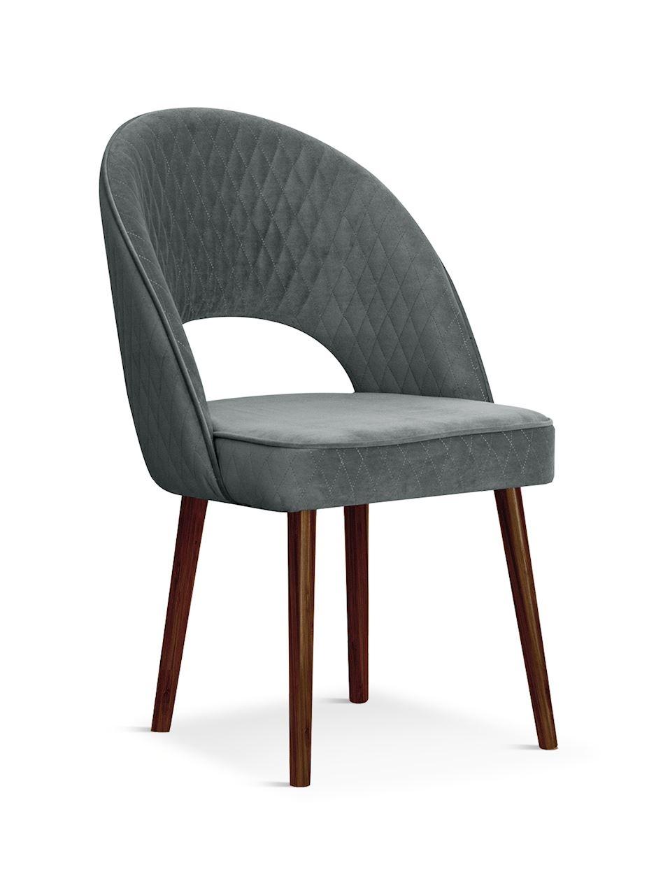 Scaun tapitat cu stofa, cu picioare din lemn Ponte Grey / Walnut, l56xA63xH89 cm`