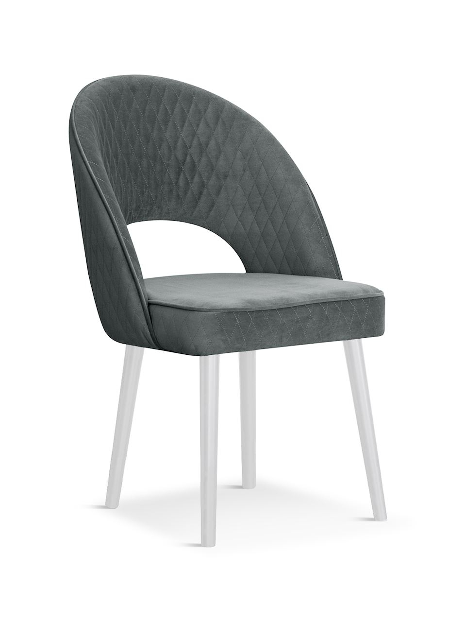 Scaun tapitat cu stofa, cu picioare din lemn Ponte Grey / White, l56xA63xH89 cm