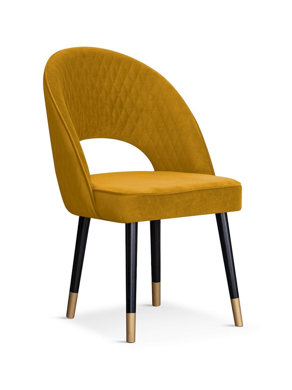 Scaun tapitat cu stofa, cu picioare din lemn Ponte Honey / Black / Gold, l56xA63xH89 cm