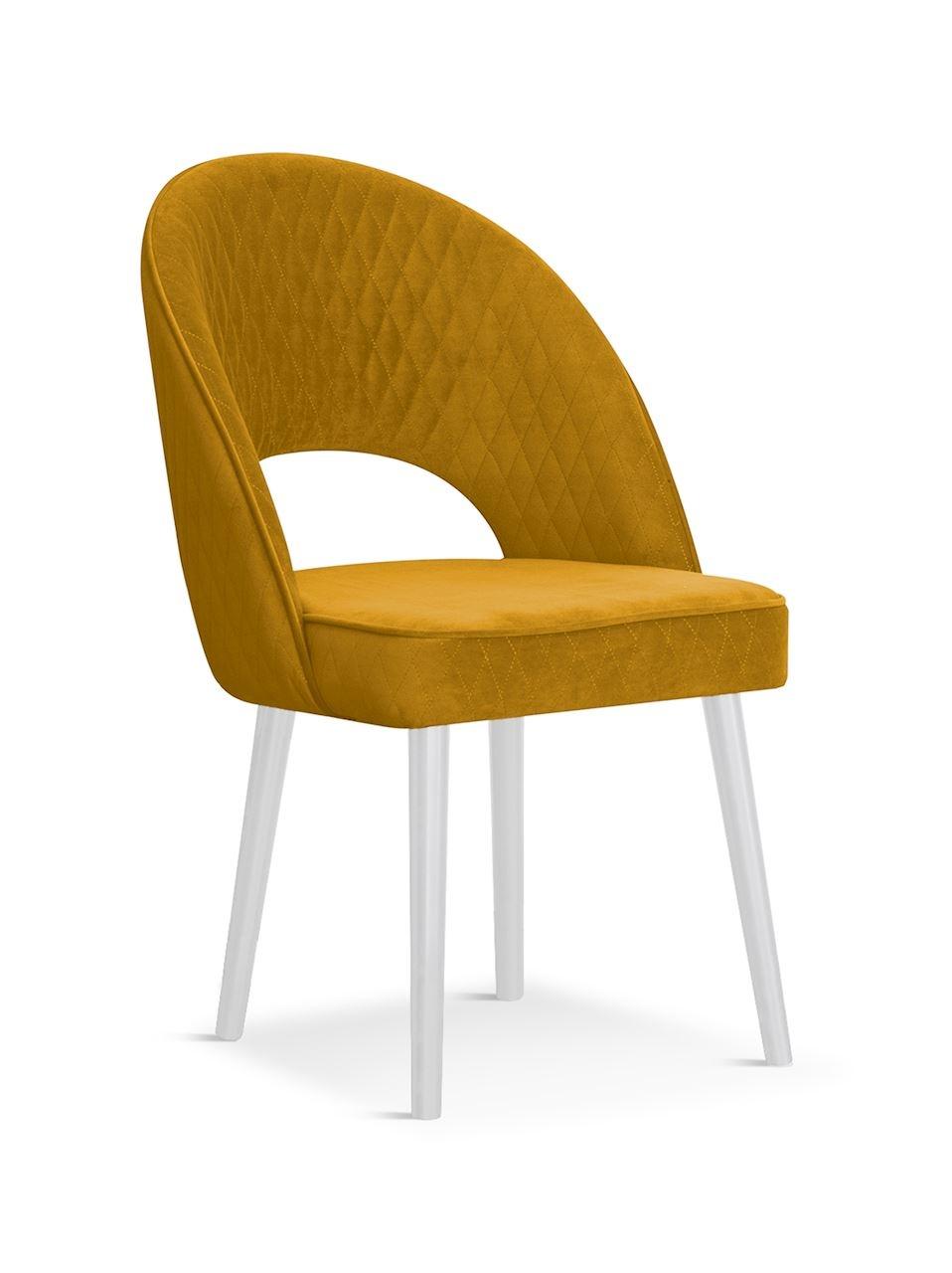 Scaun tapitat cu stofa, cu picioare din lemn Ponte Honey / White, l56xA63xH89 cm