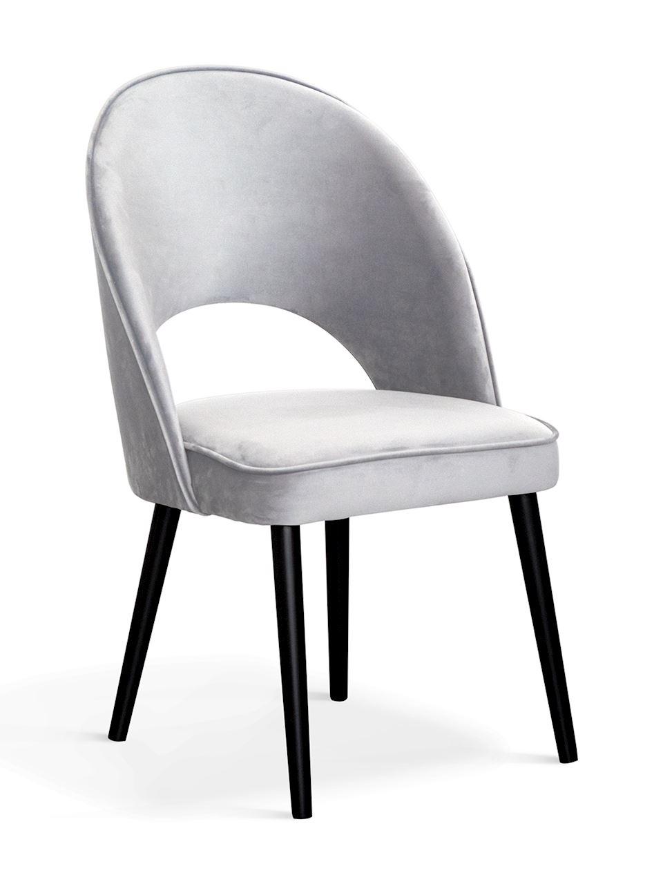 Scaun tapitat cu stofa, cu picioare din lemn Ponte II Argintiu / Negru, l54xA63xH89 cm
