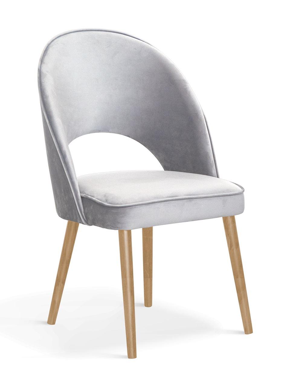 Scaun tapitat cu stofa, cu picioare din lemn Ponte II Argintiu / Stejar, l54xA63xH89 cm