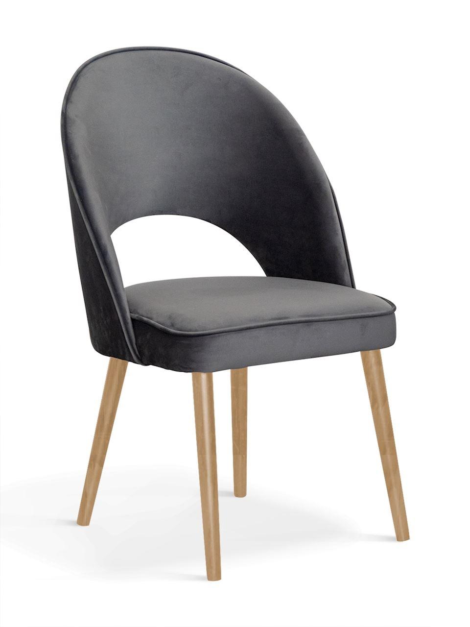 Scaun tapitat cu stofa, cu picioare din lemn Ponte II Gri / Stejar, l54xA63xH89 cm