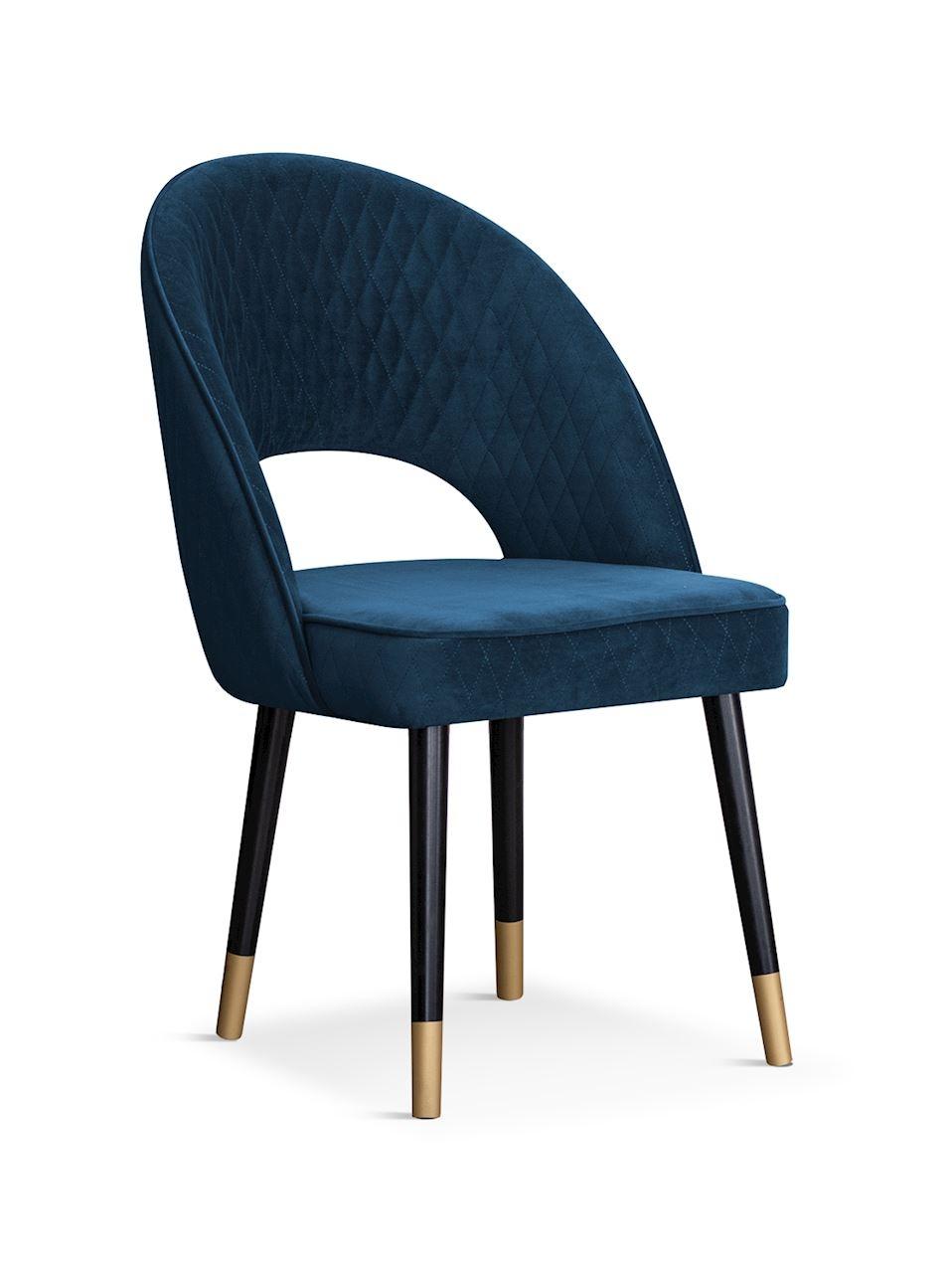 Scaun tapitat cu stofa, cu picioare din lemn Ponte Navy Blue / Black / Gold, l56xA63xH89 cm