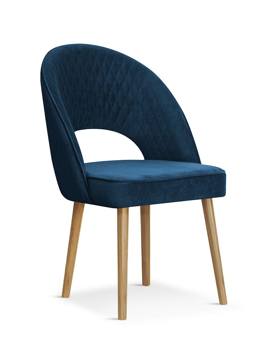 Scaun tapitat cu stofa, cu picioare din lemn Ponte Navy Blue / Oak, l56xA63xH89 cm