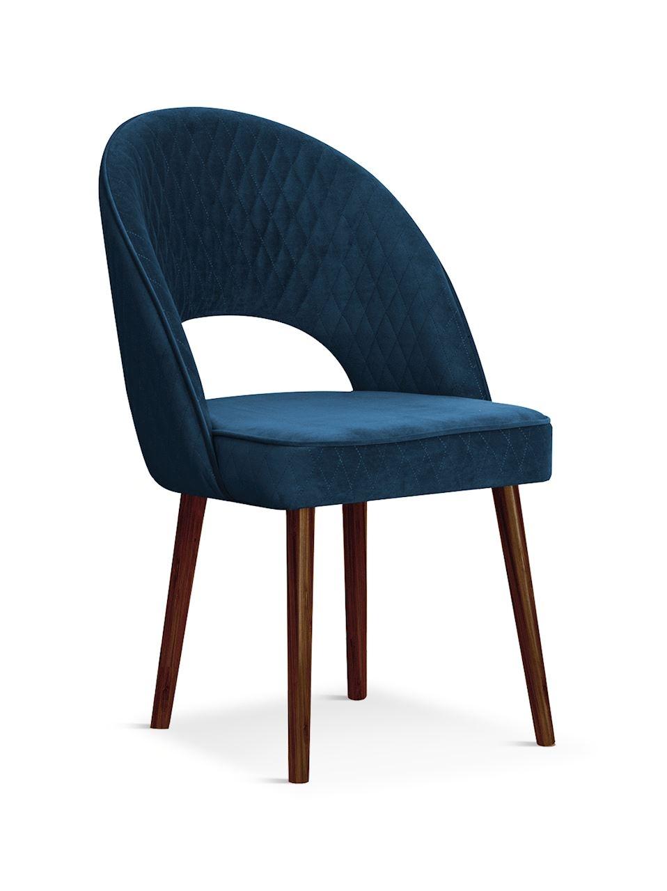 Scaun tapitat cu stofa, cu picioare din lemn Ponte Navy Blue / Walnut, l56xA63xH89 cm