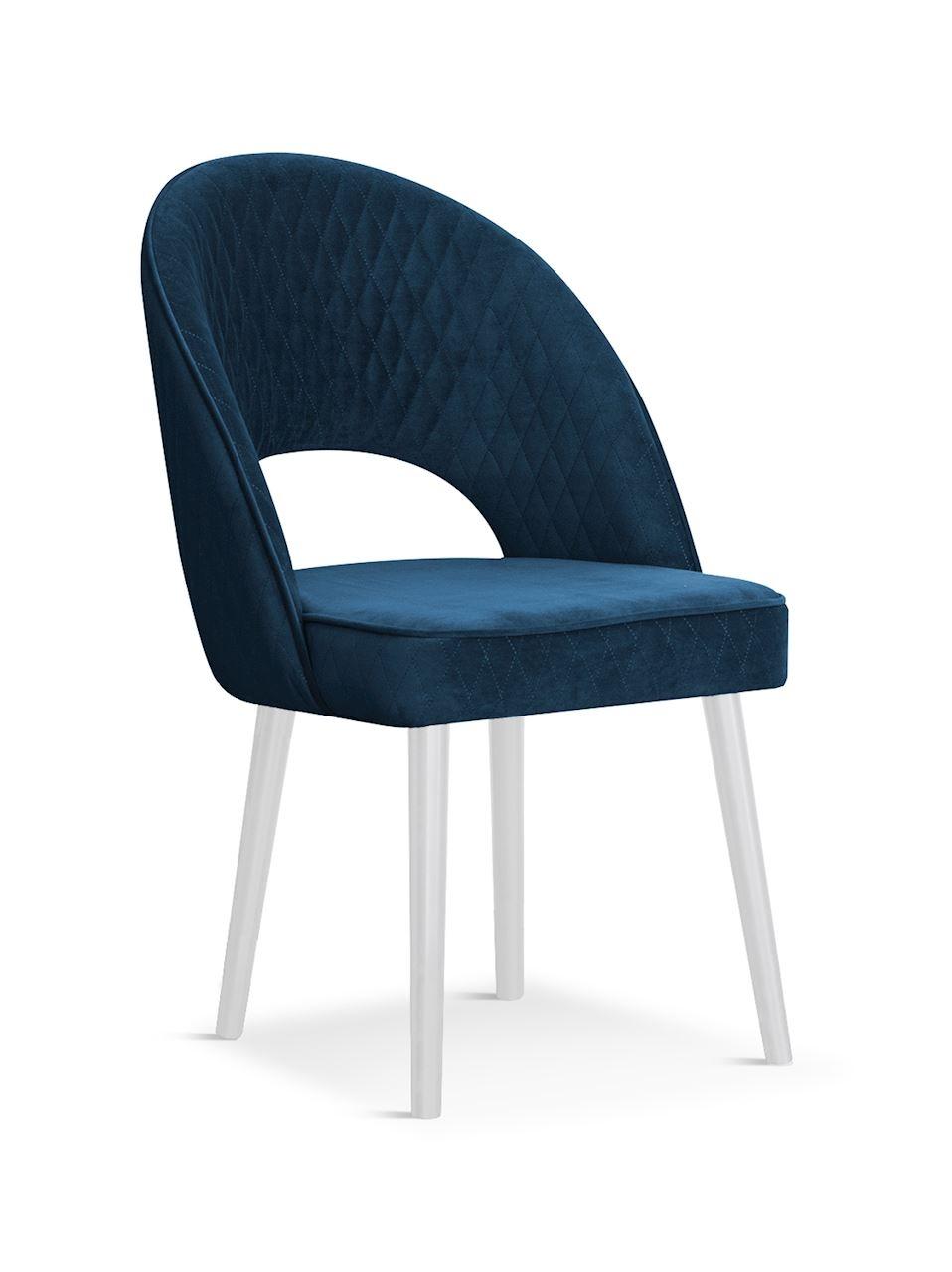 Scaun tapitat cu stofa, cu picioare din lemn Ponte Navy Blue / White, l56xA63xH89 cm