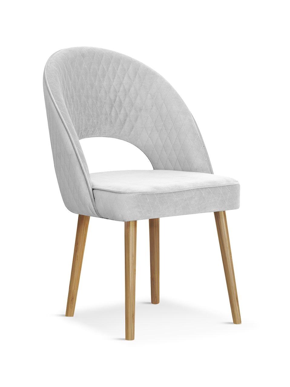 Scaun tapitat cu stofa, cu picioare din lemn Ponte Silver / Oak, l56xA63xH89 cm