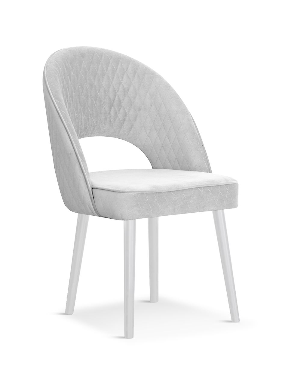 Scaun tapitat cu stofa, cu picioare din lemn Ponte Silver / White, l56xA63xH89 cm