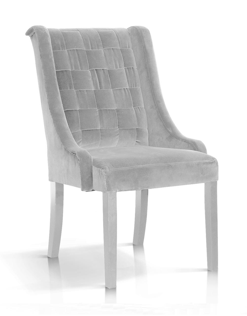 Scaun tapitat cu stofa, cu picioare din lemn Prince Argintiu / Alb, l55xA70xH105 cm