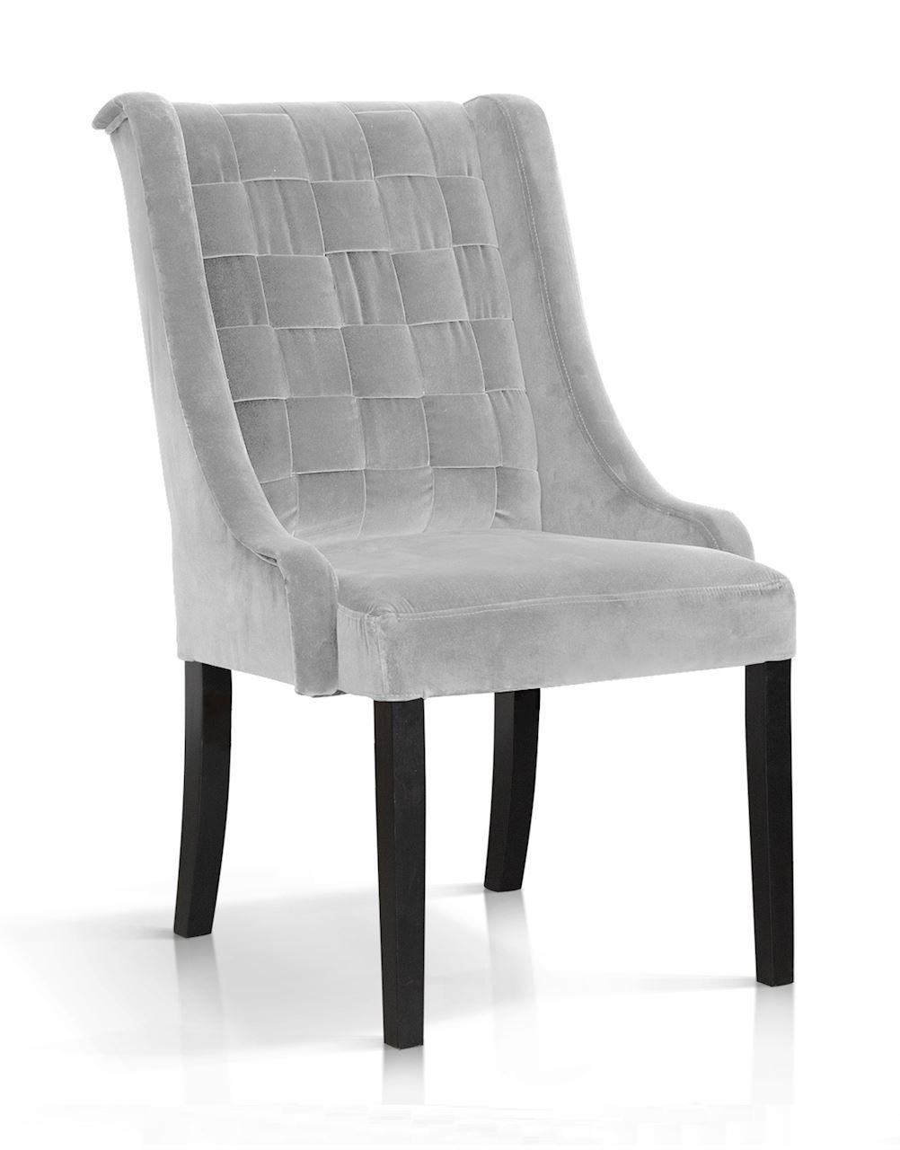 Scaun tapitat cu stofa, cu picioare din lemn Prince Velvet Argintiu / Negru, l55xA70xH105 cm imagine