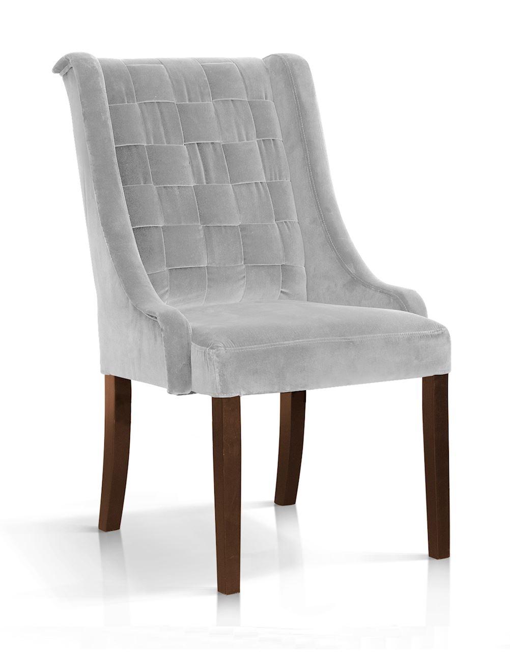 Scaun tapitat cu stofa, cu picioare din lemn Prince Argintiu / Nuc, l55xA70xH105 cm