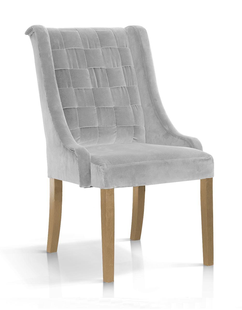 Scaun tapitat cu stofa, cu picioare din lemn Prince Argintiu / Stejar, l55xA70xH105 cm