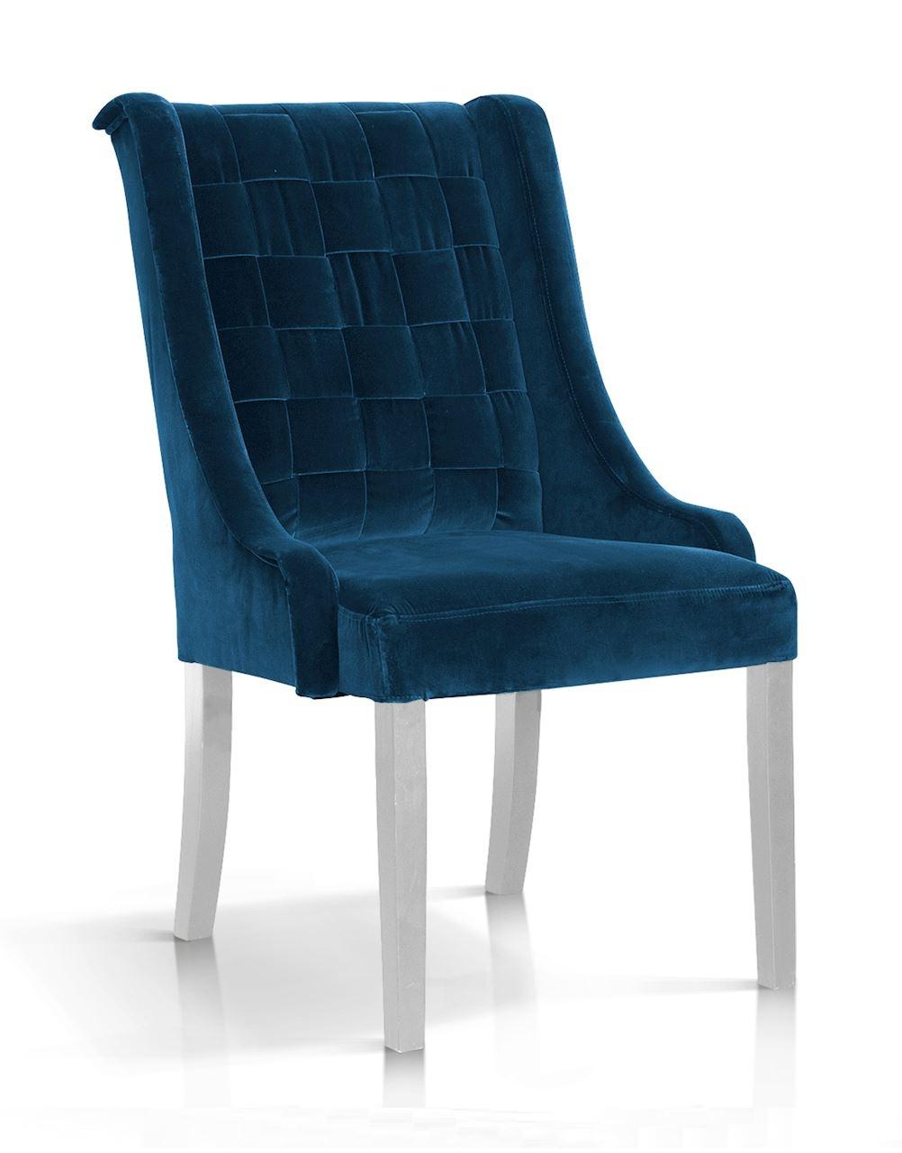Scaun tapitat cu stofa, cu picioare din lemn Prince Velvet Bleumarin / Alb, l55xA70xH105 cm