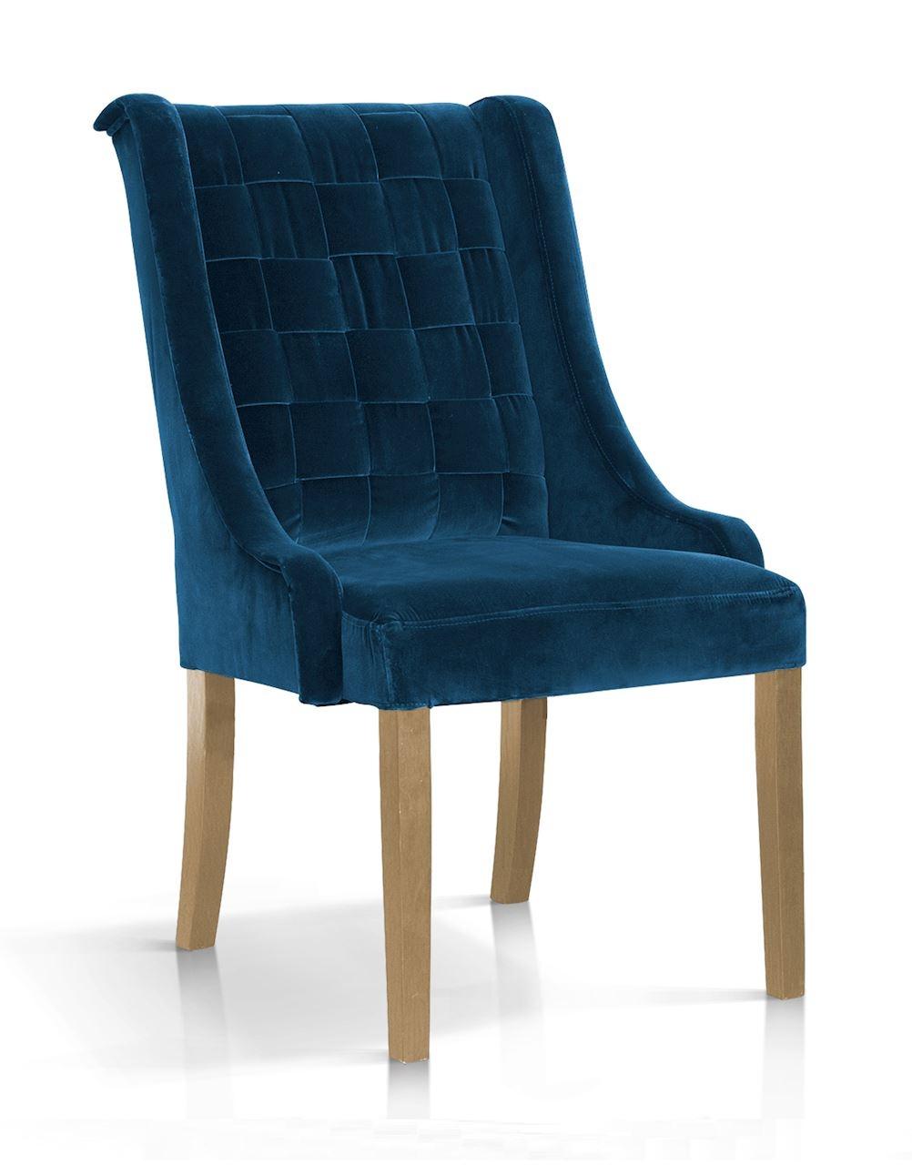 Scaun tapitat cu stofa, cu picioare din lemn Prince Velvet Bleumarin / Stejar, l55xA70xH105 cm somproduct.ro
