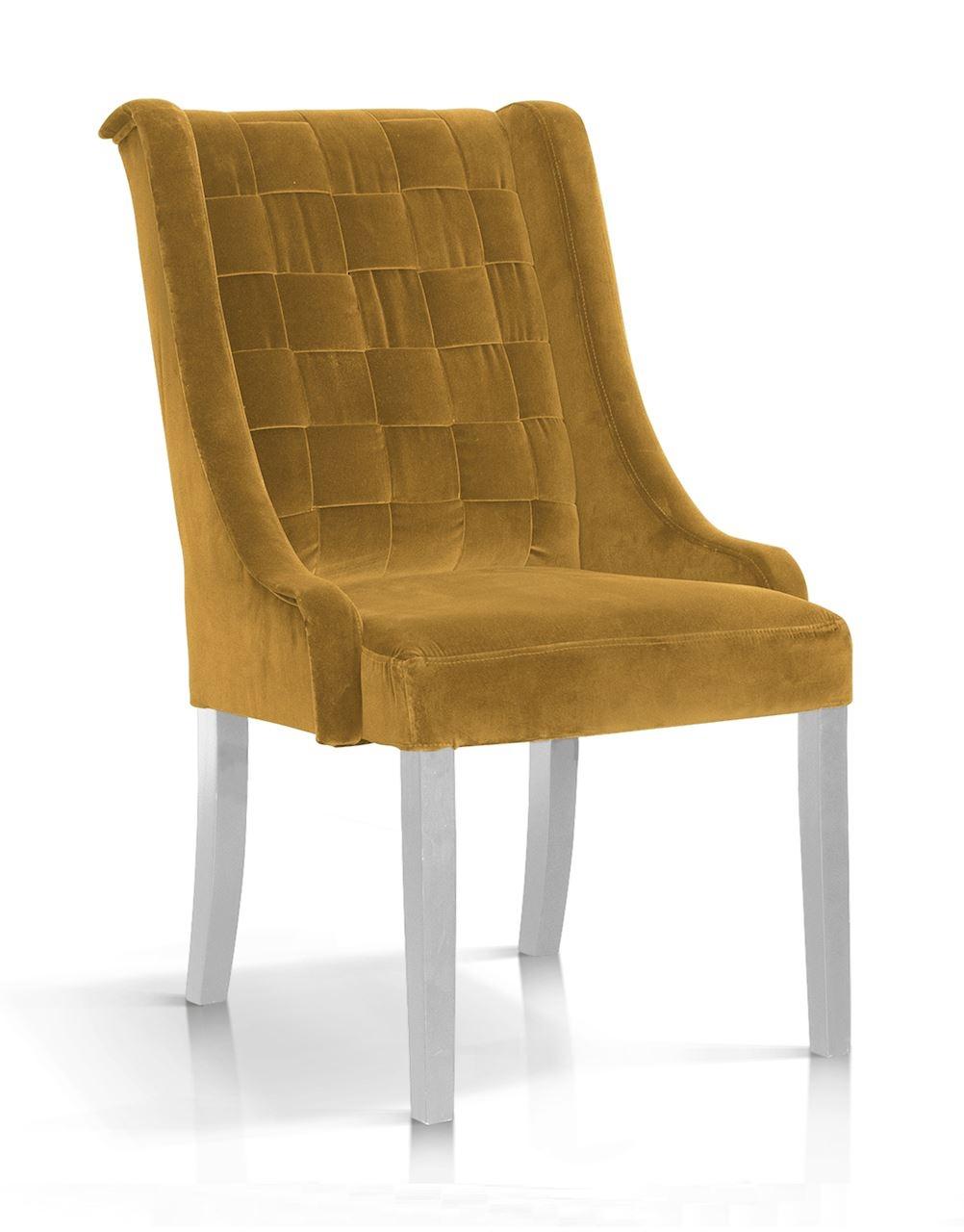 Scaun tapitat cu stofa, cu picioare din lemn Prince Galben / Alb, l55xA70xH105 cm