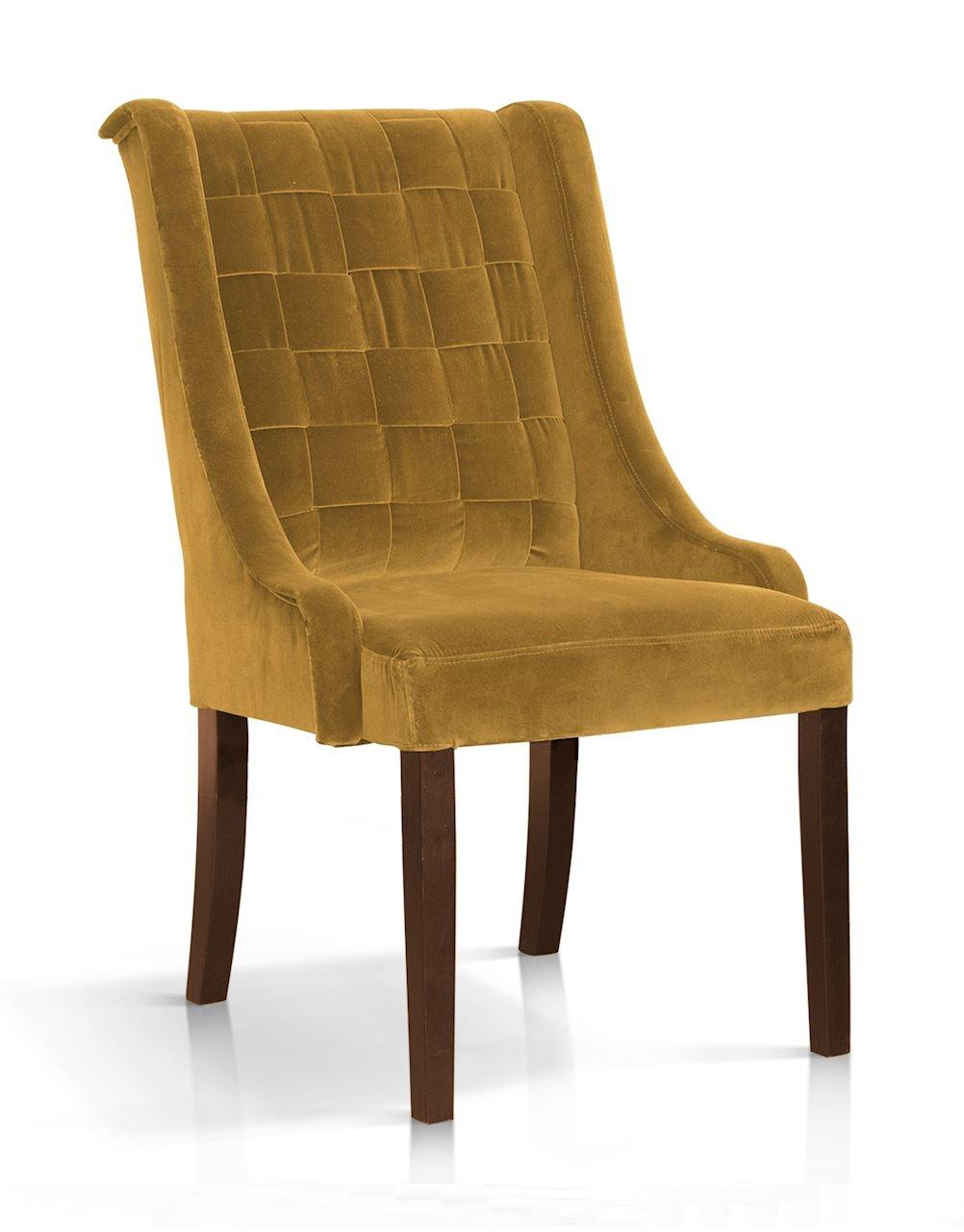 Scaun tapitat cu stofa, cu picioare din lemn Prince Galben / Nuc, l55xA70xH105 cm