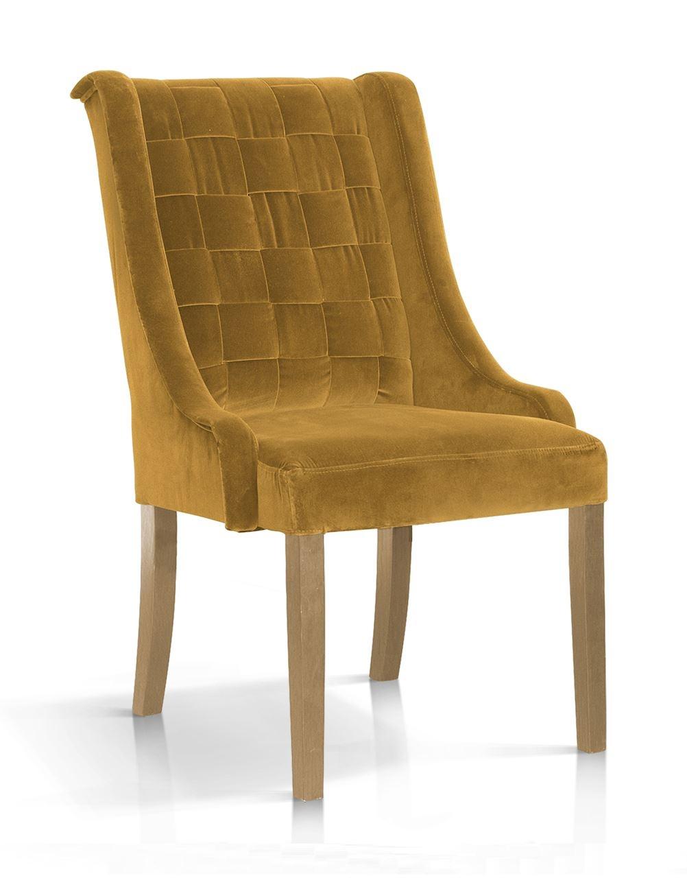 Scaun tapitat cu stofa, cu picioare din lemn Prince Galben / Stejar, l55xA70xH105 cm