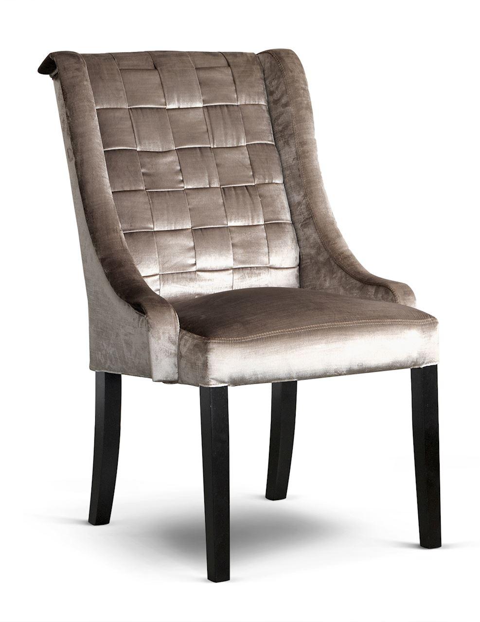 Scaun tapitat cu stofa, cu picioare din lemn Prince Glamour Argintiu / Negru, l55xA70xH105 cm