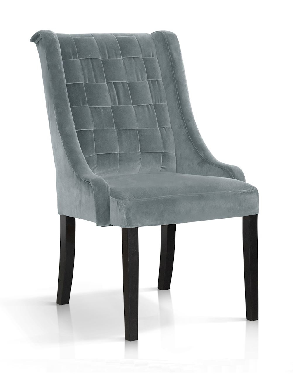 Scaun tapitat cu stofa, cu picioare din lemn Prince Gri / Negru, l55xA70xH105 cm