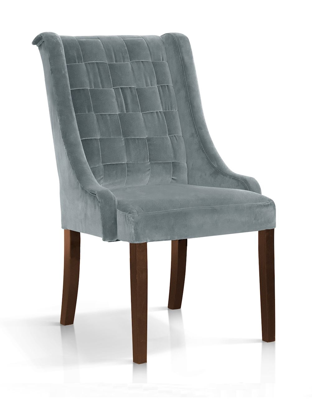 Scaun tapitat cu stofa, cu picioare din lemn Prince Velvet Gri / Nuc, l55xA70xH105 cm