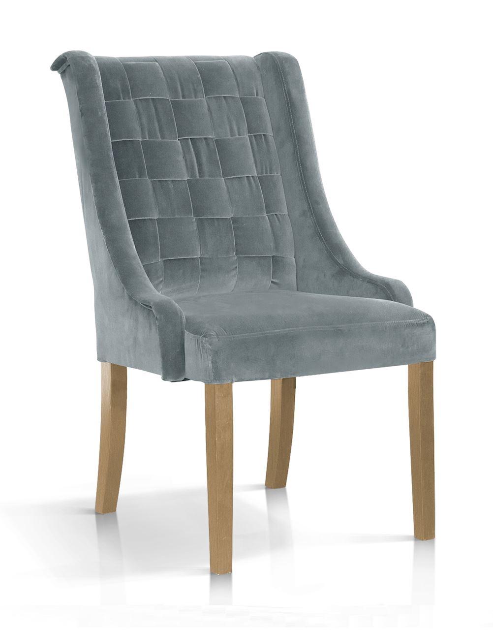 Scaun tapitat cu stofa, cu picioare din lemn Prince Gri / Stejar, l55xA70xH105 cm