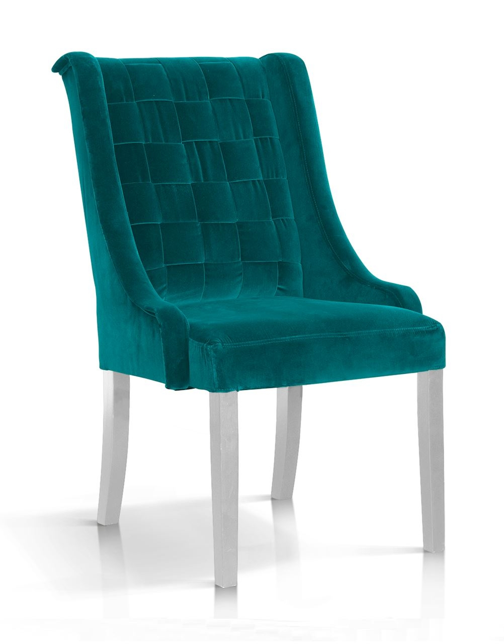Scaun tapitat cu stofa, cu picioare din lemn Prince Turcoaz / Alb, l55xA70xH105 cm