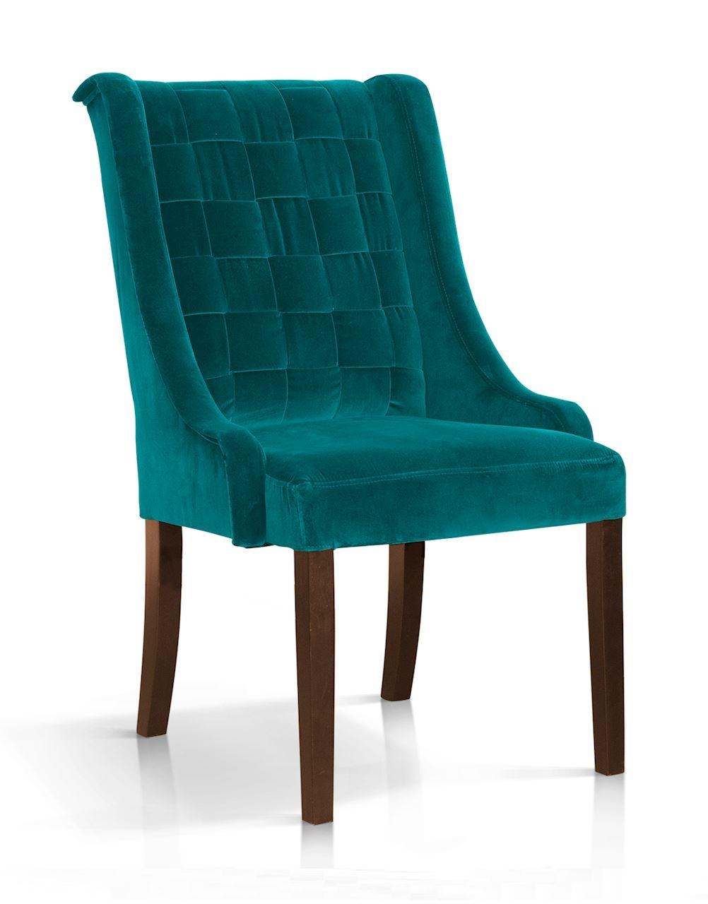 Scaun tapitat cu stofa, cu picioare din lemn Prince Turcoaz / Nuc, l55xA70xH105 cm