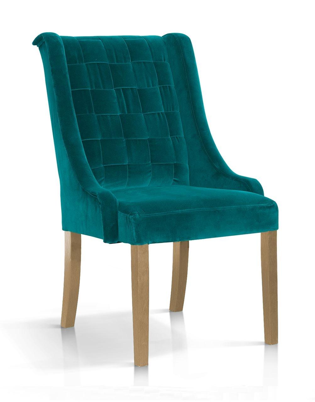Scaun tapitat cu stofa, cu picioare din lemn Prince Turcoaz / Stejar, l55xA70xH105 cm