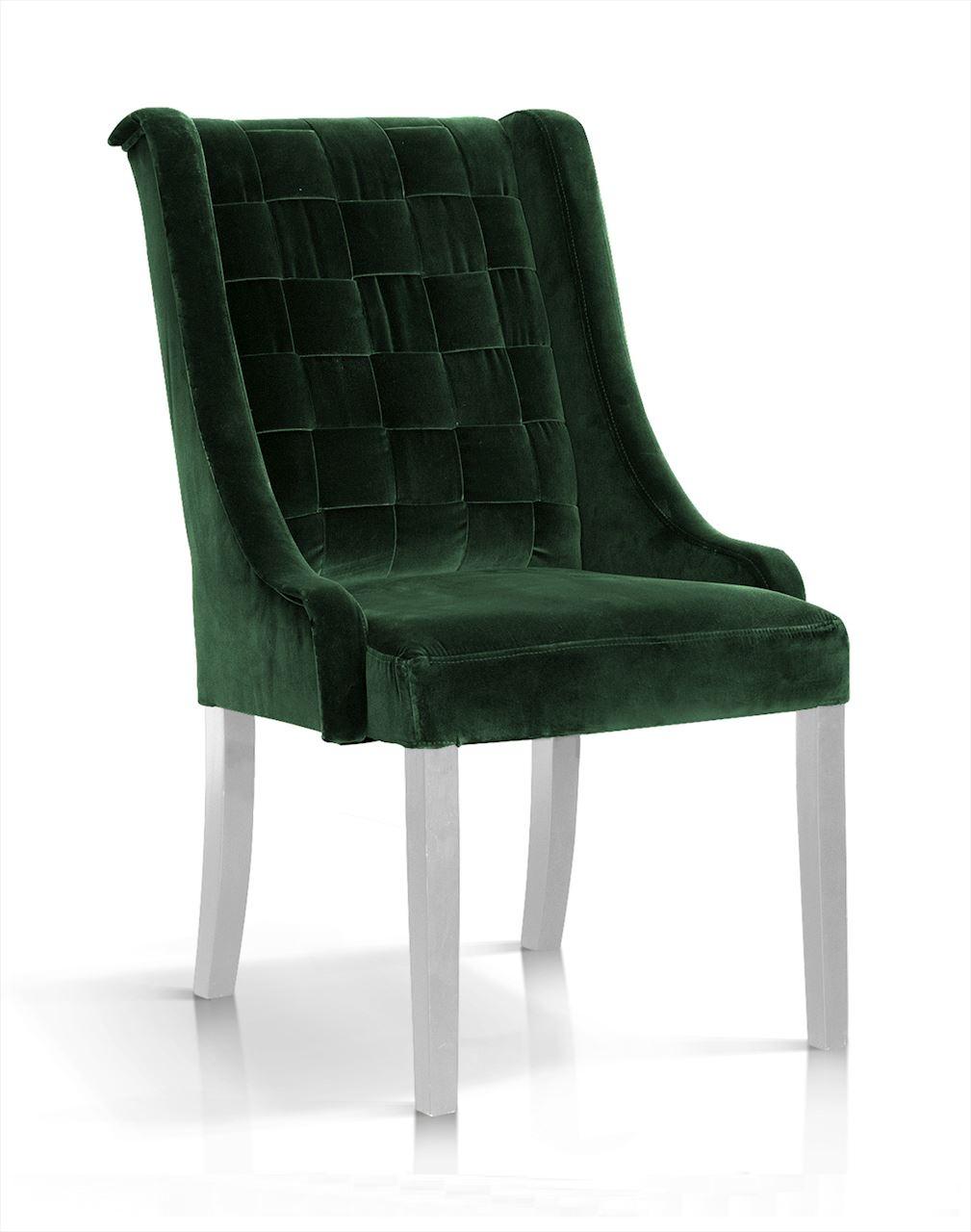 Scaun tapitat cu stofa, cu picioare din lemn Prince Verde / Alb, l55xA70xH105 cm