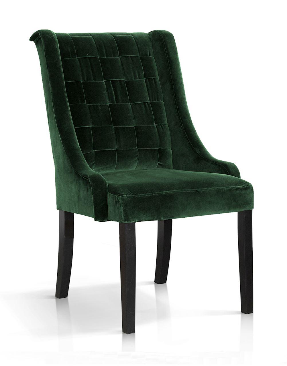 Scaun tapitat cu stofa, cu picioare din lemn Prince Verde / Negru, l55xA70xH105 cm