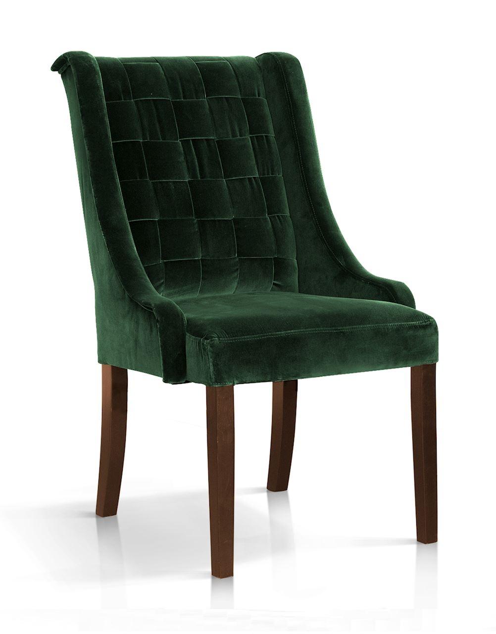 Scaun tapitat cu stofa, cu picioare din lemn Prince Verde / Nuc, l55xA70xH105 cm