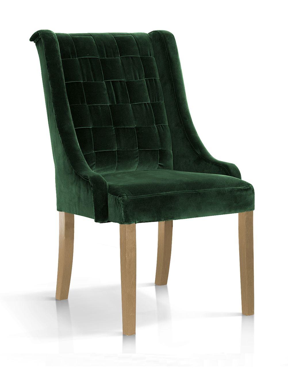 Scaun tapitat cu stofa, cu picioare din lemn Prince Verde / Stejar, l55xA70xH105 cm