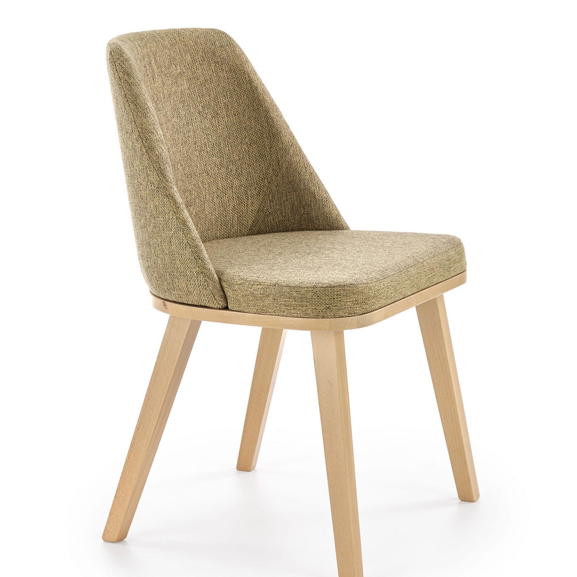 Scaun tapitat cu stofa, cu picioare din lemn Pueblo Verde Olive / Stejar, l52xA55xH81 cm