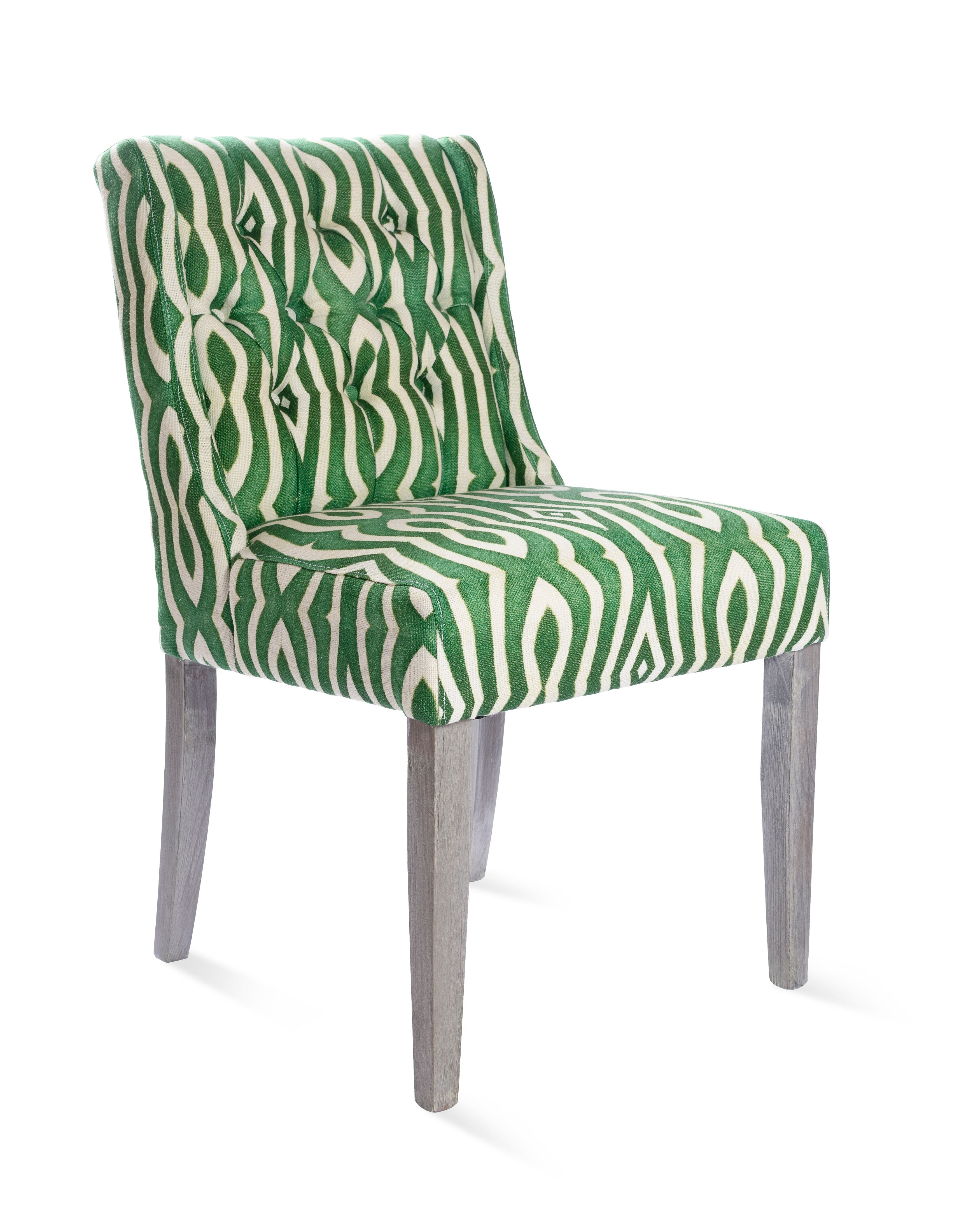 Scaun tapitat cu stofa, cu picioare din lemn Riverside Tufted Green, l51xA63xH85 cm