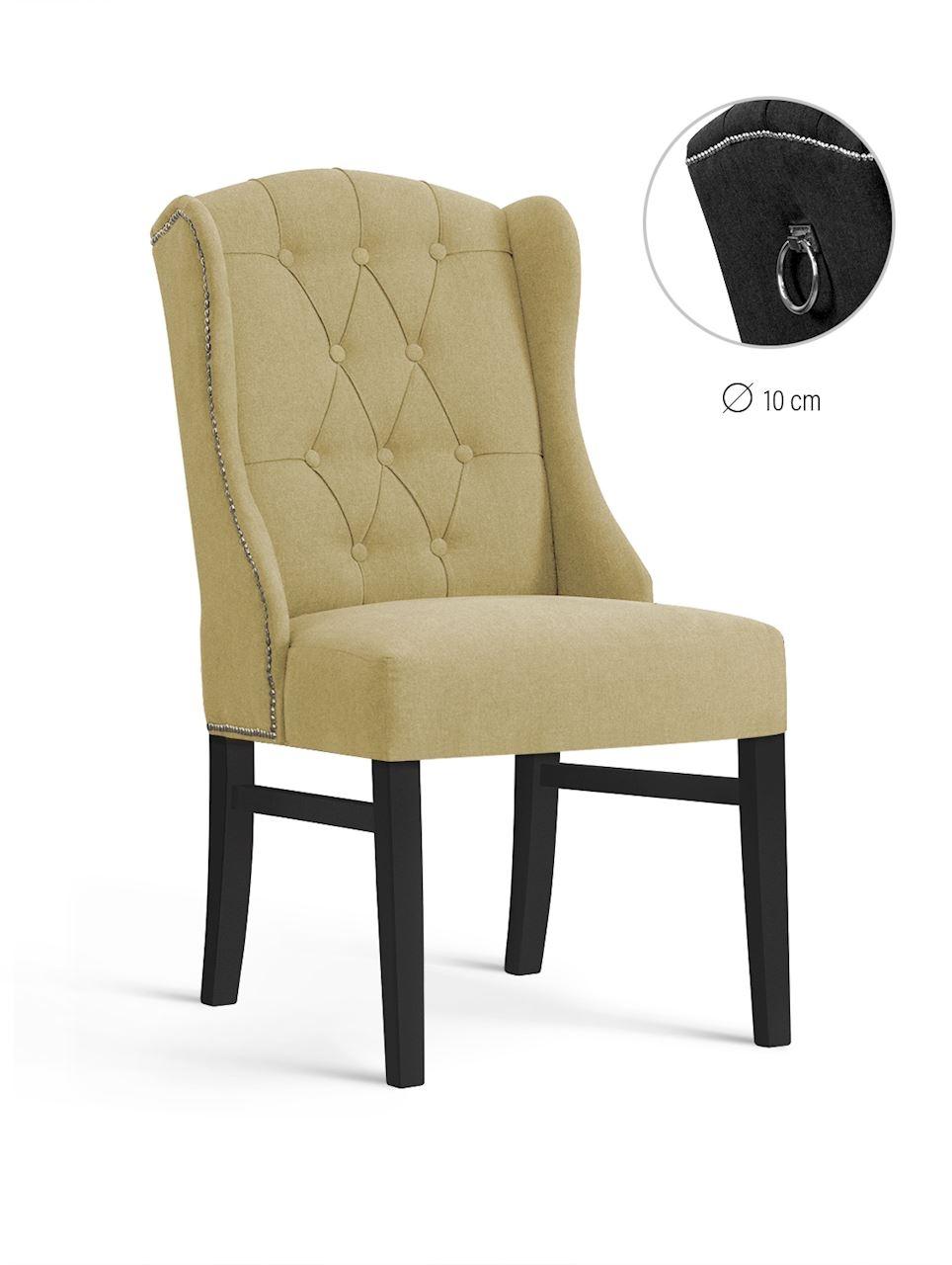 Scaun tapitat cu stofa, cu picioare din lemn Royal Beige / Black, l55xA74xH105 cm