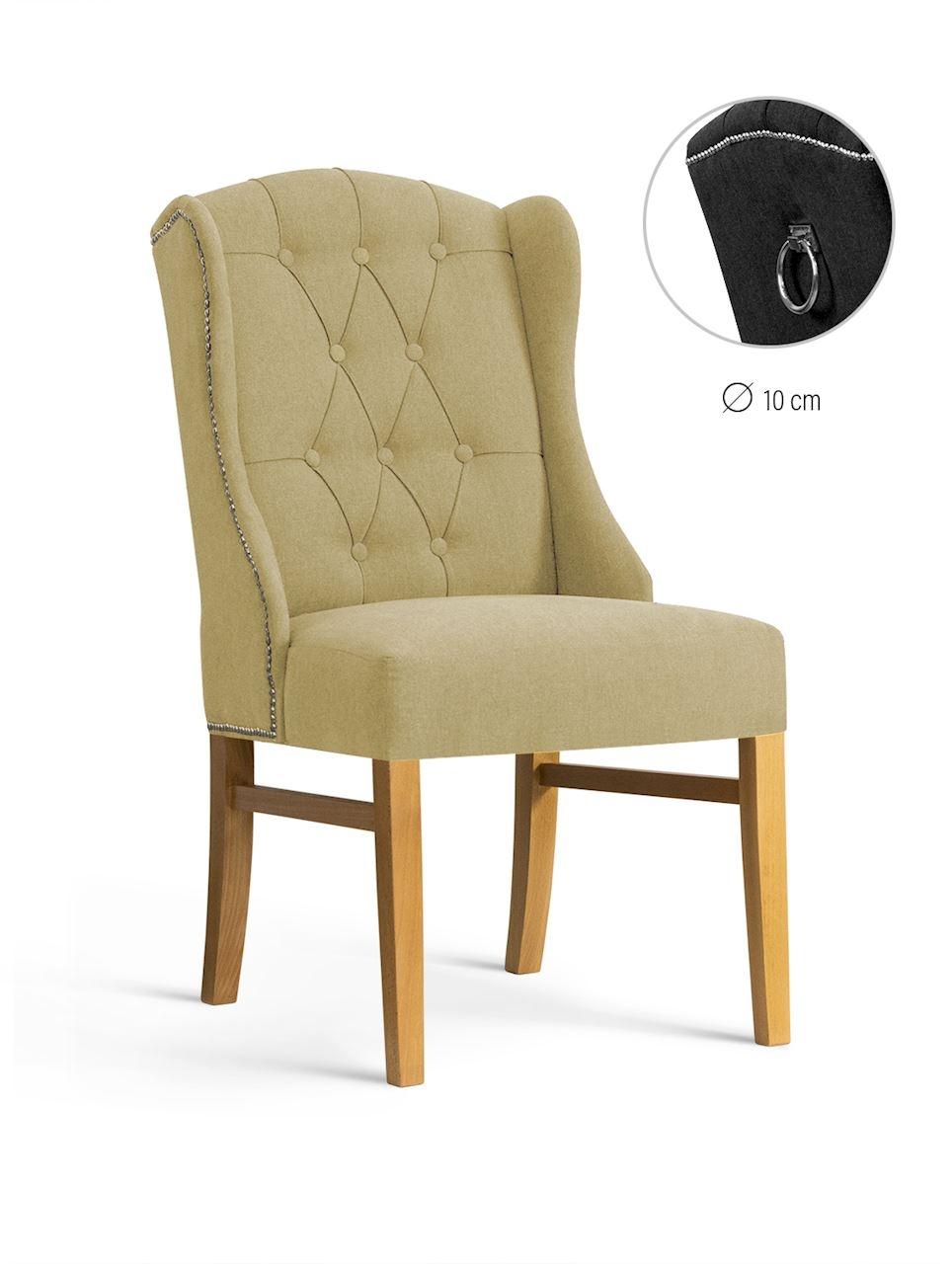 Scaun tapitat cu stofa, cu picioare din lemn Royal Beige / Oak, l55xA74xH105 cm